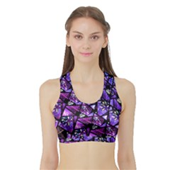 Blue purple Shattered Glass Women s Sports Bra with Border