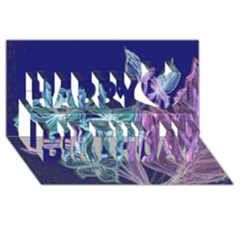 Purple, Pink Aqua Flower Style Happy Birthday 3d Greeting Card (8x4)