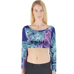 Purple, Pink Aqua Flower style Long Sleeve Crop Top