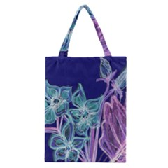 Purple, Pink Aqua Flower Style Classic Tote Bags