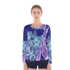 Purple, Pink Aqua Flower style Women s Long Sleeve T-shirts
