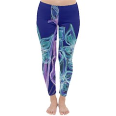 Purple, Pink Aqua Flower style Winter Leggings