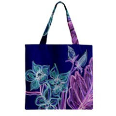 Purple, Pink Aqua Flower style Zipper Grocery Tote Bags