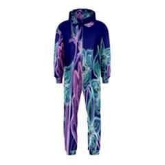 Purple, Pink Aqua Flower style Hooded Jumpsuit (Kids)