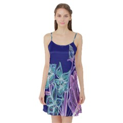 Purple, Pink Aqua Flower Style Satin Night Slip