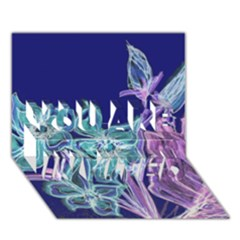 Purple, Pink Aqua Flower Style You Are Invited 3d Greeting Card (7x5)