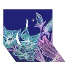 Purple, Pink Aqua Flower style Apple 3D Greeting Card (7x5)