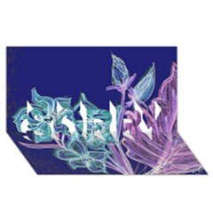 Purple, Pink Aqua Flower style SORRY 3D Greeting Card (8x4)