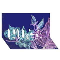 Purple, Pink Aqua Flower style HUGS 3D Greeting Card (8x4)