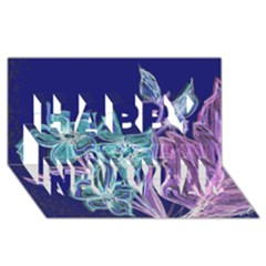 Purple, Pink Aqua Flower style Happy New Year 3D Greeting Card (8x4)