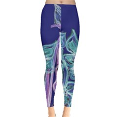Purple, Pink Aqua Flower style Women s Leggings