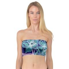 Purple, Pink Aqua Flower style Women s Bandeau Tops