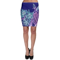 Purple, Pink Aqua Flower Style Bodycon Skirts
