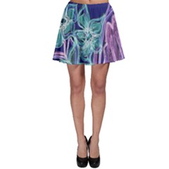 Purple, Pink Aqua Flower Style Skater Skirts