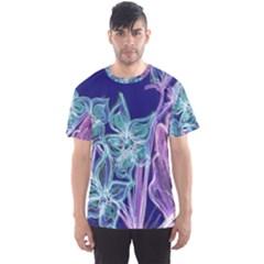 Purple, Pink Aqua Flower style Men s Sport Mesh Tees