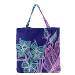 Purple, Pink Aqua Flower style Grocery Tote Bags