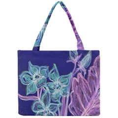 Purple, Pink Aqua Flower style Tiny Tote Bags