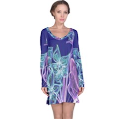 Purple, Pink Aqua Flower style Long Sleeve Nightdresses