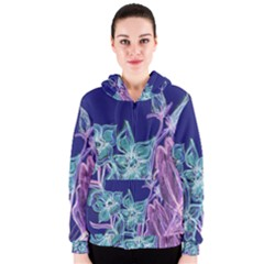 Purple, Pink Aqua Flower style Women s Zipper Hoodies