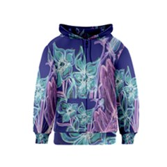 Purple, Pink Aqua Flower style Kids Zipper Hoodies