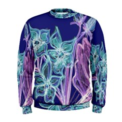 Purple, Pink Aqua Flower style Men s Sweatshirts