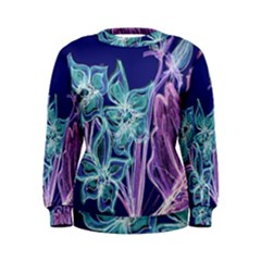 Purple, Pink Aqua Flower style Women s Sweatshirts