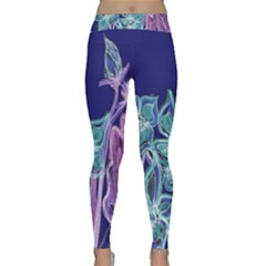 Purple, Pink Aqua Flower style Yoga Leggings