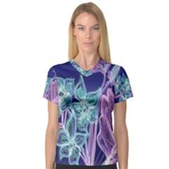 Purple, Pink Aqua Flower style Women s V-Neck Sport Mesh Tee