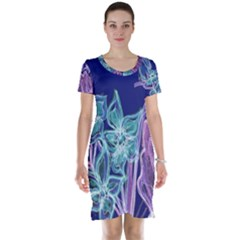Purple, Pink Aqua Flower Style Short Sleeve Nightdresses