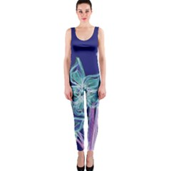 Purple, Pink Aqua Flower Style Onepiece Catsuits