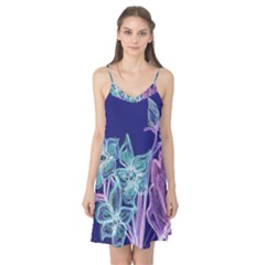 Purple, Pink Aqua Flower style Camis Nightgown
