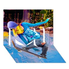 Skateboarding on Water I Love You 3D Greeting Card (7x5)