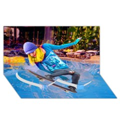 Skateboarding On Water Twin Heart Bottom 3d Greeting Card (8x4)