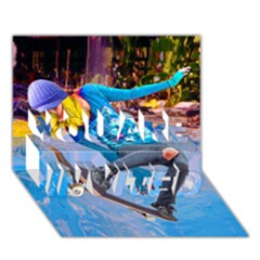 Skateboarding On Water You Are Invited 3d Greeting Card (7x5)