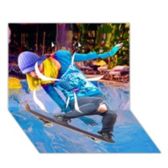 Skateboarding on Water Clover 3D Greeting Card (7x5)