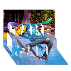Skateboarding on Water TAKE CARE 3D Greeting Card (7x5)