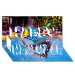 Skateboarding on Water Happy New Year 3D Greeting Card (8x4)