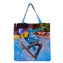 Skateboarding on Water Grocery Tote Bags