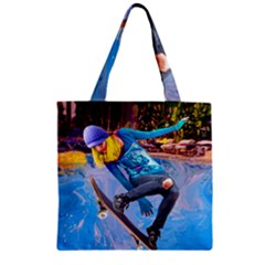 Skateboarding on Water Zipper Grocery Tote Bags
