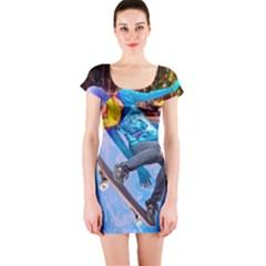 Skateboarding on Water Short Sleeve Bodycon Dresses