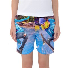 Skateboarding On Water Women s Basketball Shorts