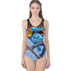 Skateboarding on Water Women s One Piece Swimsuits