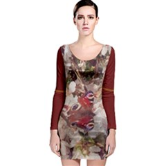 Blossom Butterfly Watercolour Long Sleeve Bodycon Dress