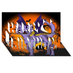 Seruki Vampire Kitty Cat Happy Birthday 3D Greeting Card (8x4)