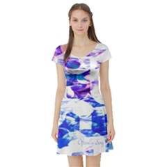 Officially Sexy  Candy Collection Blue Short Sleeve Skater Dress