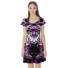 Officially Sexy Panther Collection Purple Short Sleeve Skater Dress