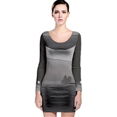 Lochranza Castle Storm Long Sleeve Bodycon Dress