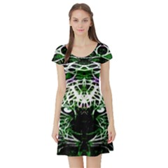 Officially Sexy Panther Collection Green Short Sleeve Skater Dress