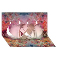 Nature And Human Forces Cowcow Twin Hearts 3d Greeting Card (8x4)