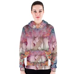 Nature And Human Forces Cowcow Women s Zipper Hoodies